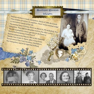 Digital Scrapbooking: Beatrice Geneva (Wilson) Brown Heritage Layout
