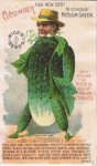 Nichol's Medium Green Cucumber Man – Rice Seeds Advertising Card