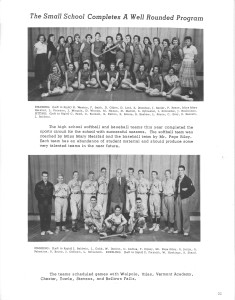 Genealogy using Yearbooks - Softball and Baseball Teams, The Blue and Gold, Charlestown, NH, 1957